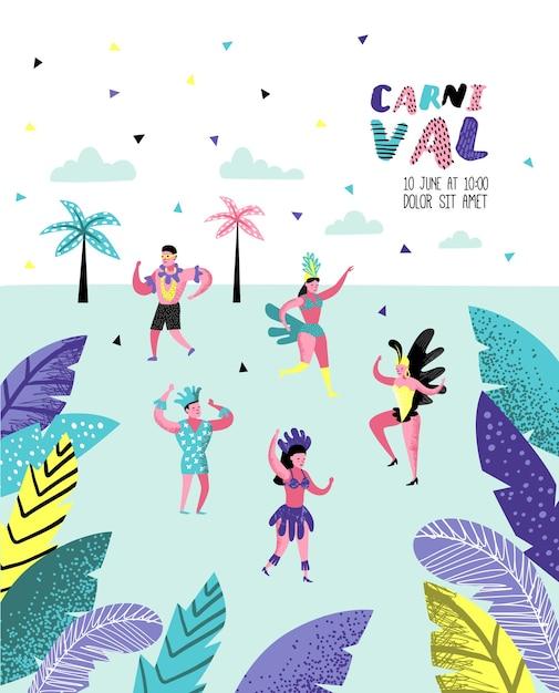 Broschüre mit tanzenden charakterleuten Premium Vektoren