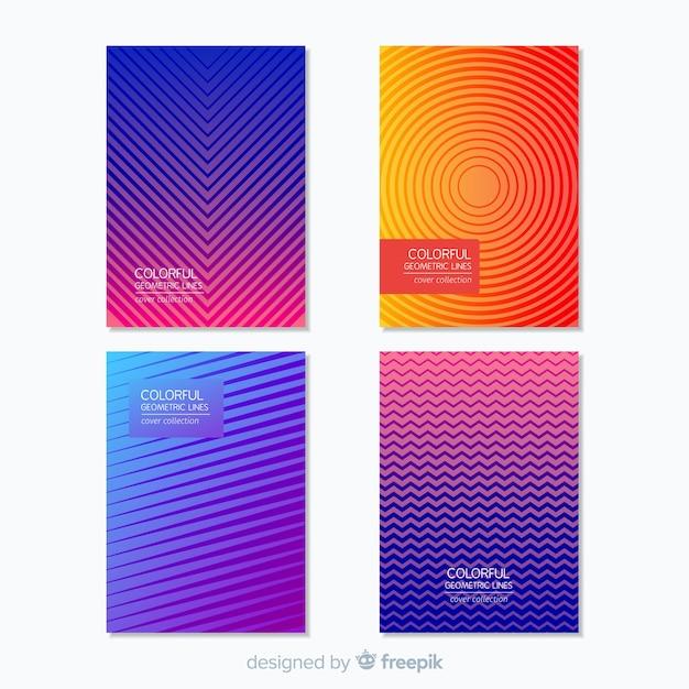 Broschüre pack mit geometrischen linien Kostenlosen Vektoren