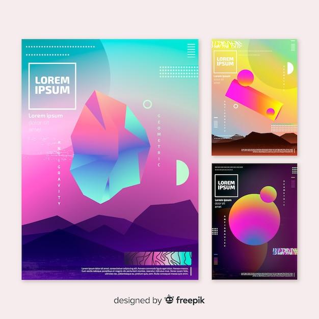 Broschüre-pack mit schwimmenden geometrischen formen Kostenlosen Vektoren