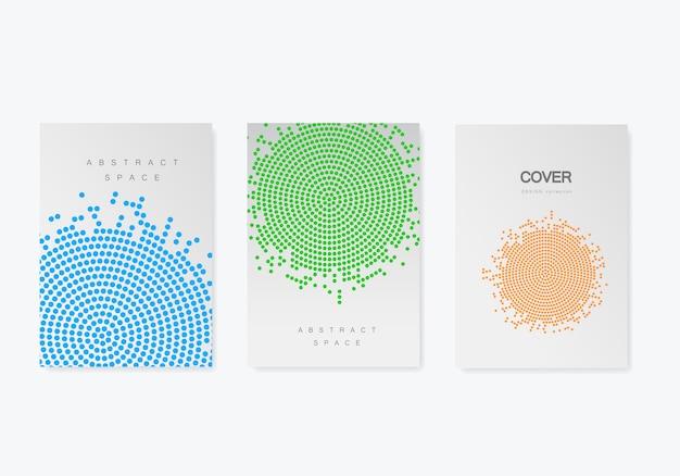 Broschüre vorlage mit halbton-design. geschäftsbericht, magazin, flyer im a4-format Premium Vektoren