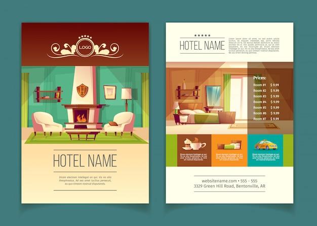 Broschüre, werbeprospekt mit hotelapartments, zimmer mit möbeln Kostenlosen Vektoren