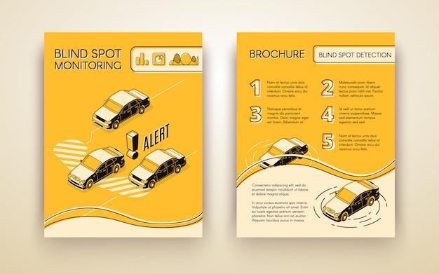 Broschüre zur unterstützung des systems zur überwachung blinder flecken oder flyer mit autos Kostenlosen Vektoren