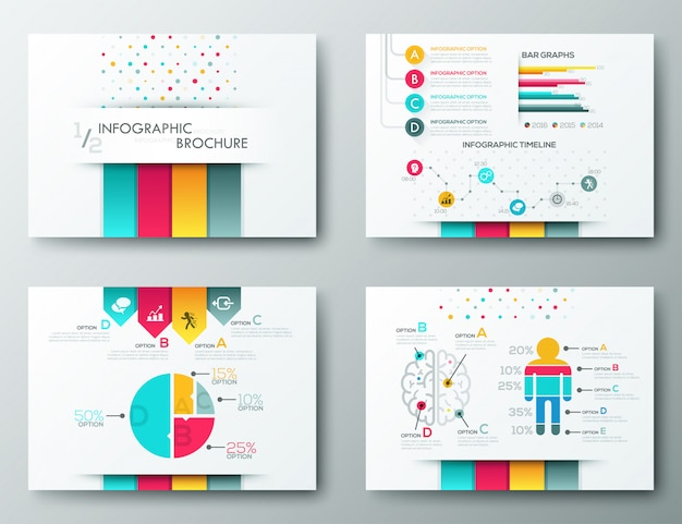 Broschüren-designvorlagen, infografik-elemente Premium Vektoren