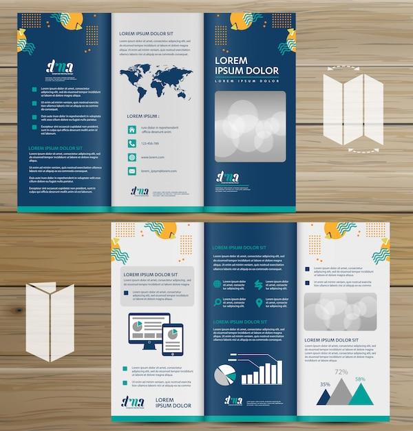 Broschürengeschäft tri falten broschüren-fliegervektordesign Premium Vektoren