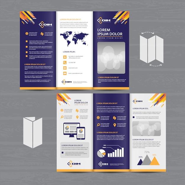 Broschürengeschäfts-dreifachgefaltetes broschüren-fliegervektordesign Premium Vektoren