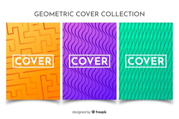 Broschürenpaket mit geometrischen linien Kostenlosen Vektoren