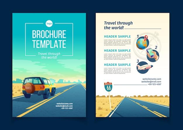 Broschürenvorlage mit Wüstenlandschaft. Reisekonzept mit SUV auf Asphaltweg zur Schlucht Kostenlose Vektoren