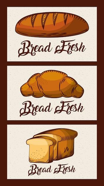 Brot frische karten bäckerei lebensmittelprodukte Premium Vektoren