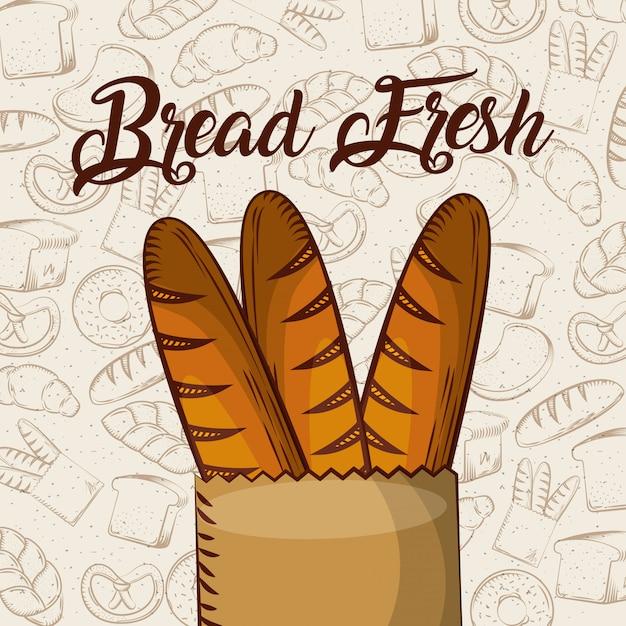 Brot frisches stangenbrot in papiertüte bäckerei hintergrund Premium Vektoren