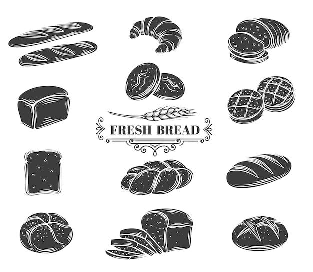 Brot glyphen symbole gesetzt. roggen-, vollkorn- und weizenbrot, ciabatta, croissant, toastbrot, französisches baguette. Premium Vektoren