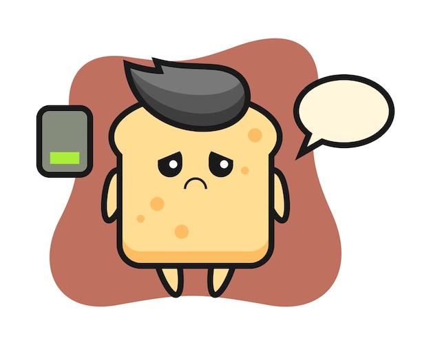 Brot maskottchen charakter macht eine müde geste Premium Vektoren