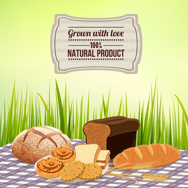 Brot mit hausgemachter naturproduktschablone Kostenlosen Vektoren