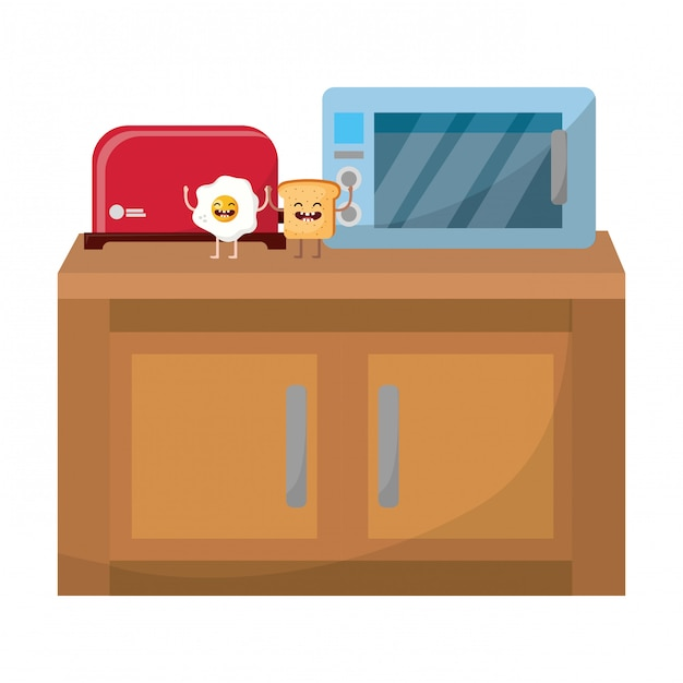 Brot toaster cartoon Premium Vektoren