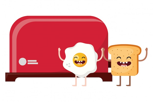 Brot toaster cartoon Premium Vektoren