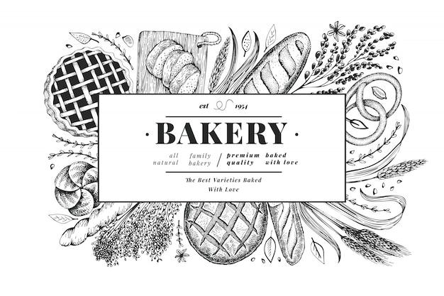 Brot und gebäck banner. vektor bäckerei hand gezeichnete illustration. vintage designvorlage. Premium Vektoren