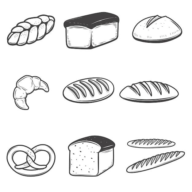 Brotikonenillustrationen auf weißem hintergrund. elemente für restaurantmenü, plakat, emblem, zeichen. Premium Vektoren
