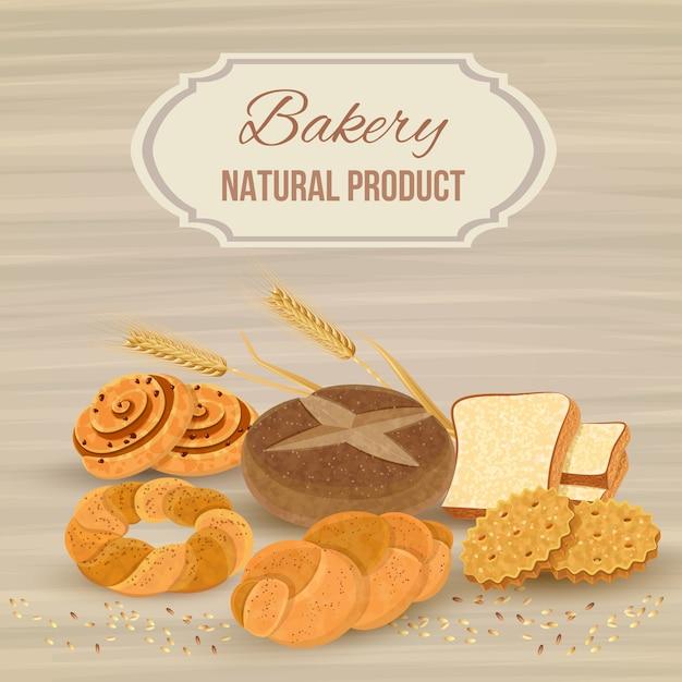 Brotschablone mit bäckereinaturprodukt Kostenlosen Vektoren