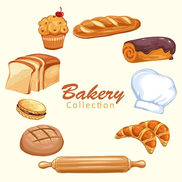 Brotsymbole eingestellt. backwaren, weizen- und vollkornbrot sowie kochmütze Premium Vektoren