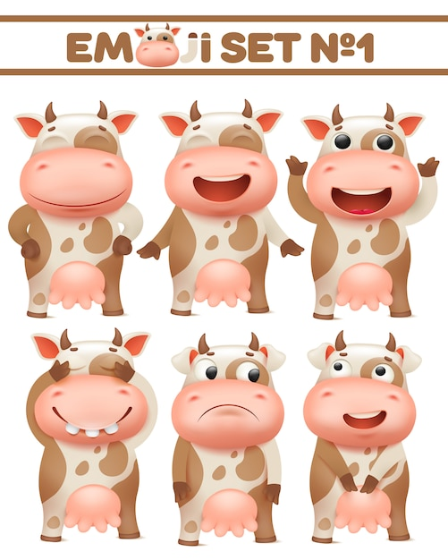 Brown beschmutzte kuhsatz, viehcharakter in den verschiedenen haltungsvektor illustrationen Premium Vektoren