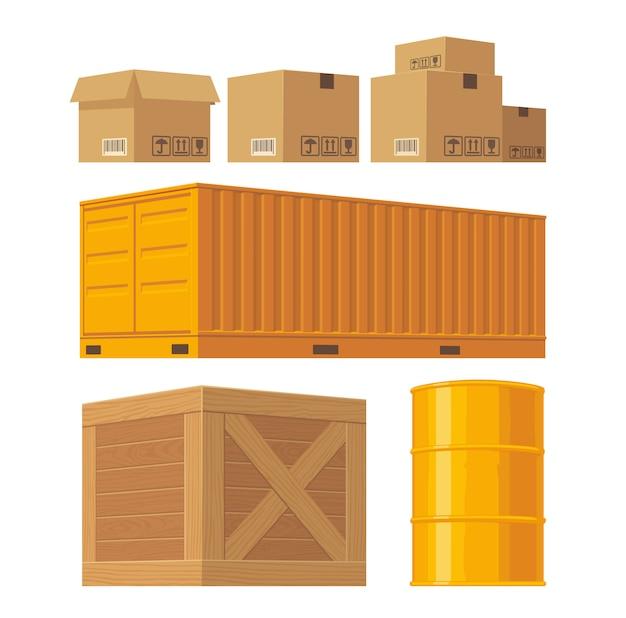 Brown karton verpackungsbox, palette, gelber behälter, holzkisten, metallfass isoliert auf weißem hintergrund mit fragilen aufmerksamkeitszeichen. Premium Vektoren