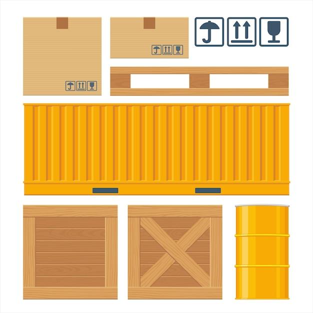 Brown-kartonverpackungskasten, palette, behälter, holzkisten, metallfaß Premium Vektoren