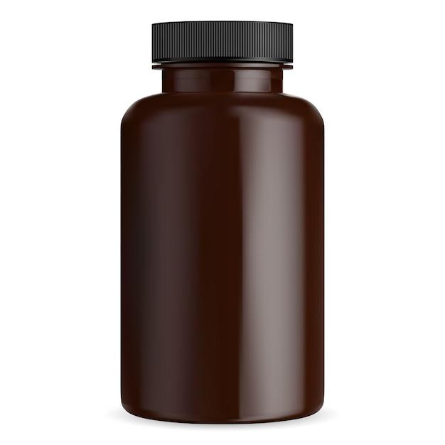 Brown pillenflasche modell. medizinisches tablettenkapselfläschchen. bernsteinfarbener ergänzungsbehälter mit schwarzem deckel. zylinderpaket für arzneimittel isoliert auf weiß. große plastikapotheke Premium Vektoren