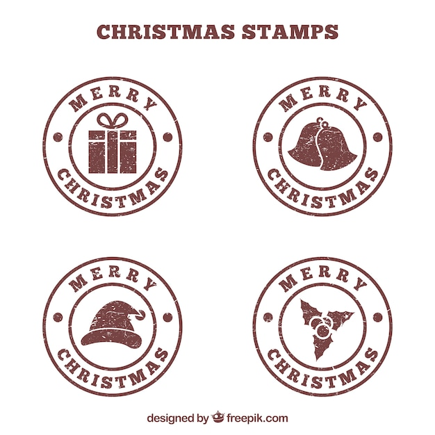 Brown runde weihnachtsmarken Kostenlosen Vektoren