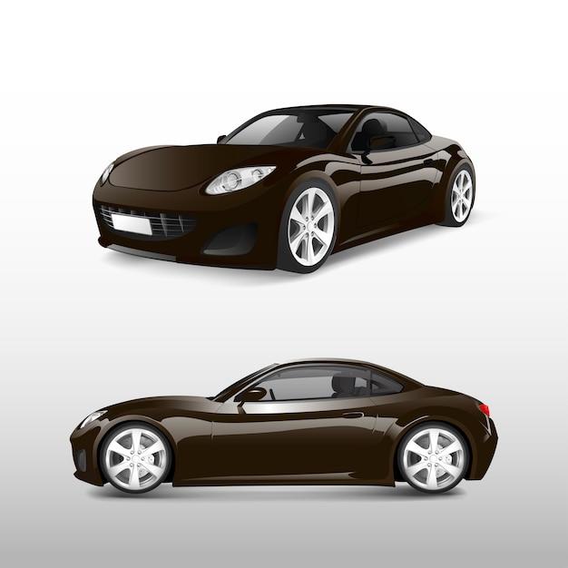Brown-sportauto lokalisiert auf weißem vektor Kostenlosen Vektoren