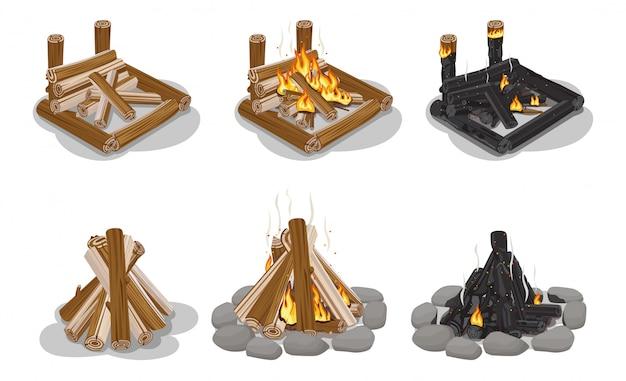 Brown und schwarzes brennholz-set getrennt Premium Vektoren