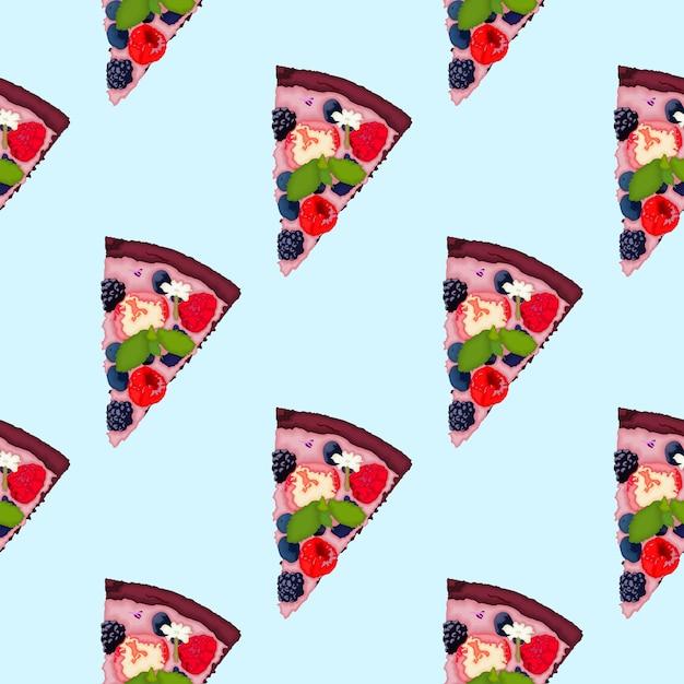 Brownie pizza mit sommerfrüchten Premium Vektoren
