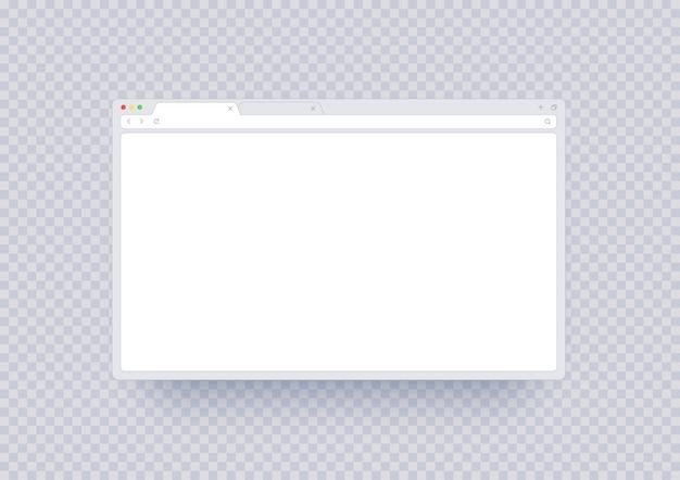 Browser-fenstermodell, abstrakte bildschirmvorlage mit leerem platz. internetseite ui mit symbolleiste und suchzeile im modernen stil isoliert. Premium Vektoren