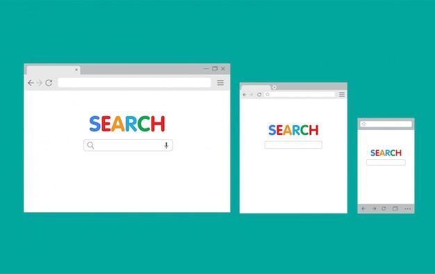 Browser-schnittstelle pc und handy, suchmaschine flache illustration vorlage Premium Vektoren
