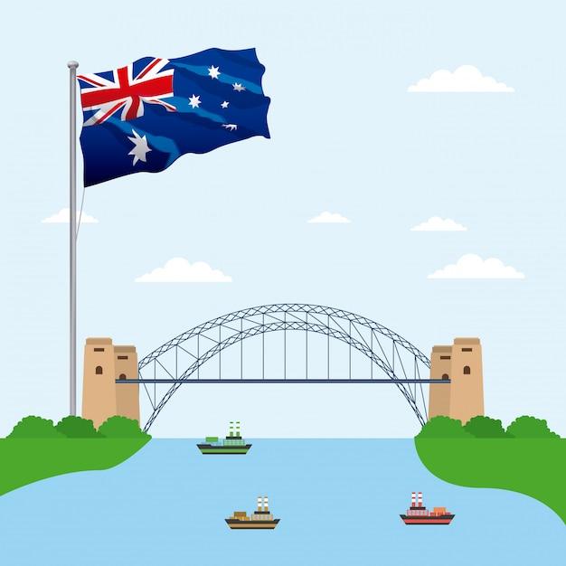 Brücke über wasser mit der flagge von australien Kostenlosen Vektoren