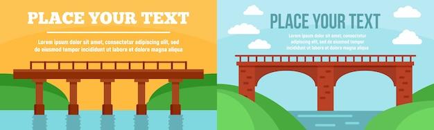 Brücken-banner gesetzt Premium Vektoren