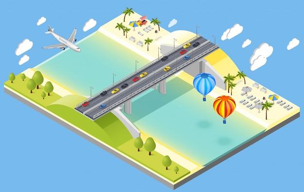 Brücken- und strandurlaubsort-illustration Kostenlosen Vektoren