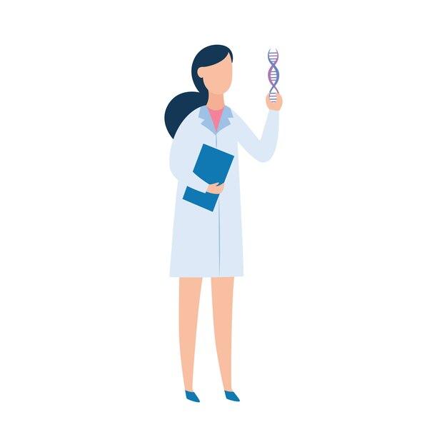 Brünette frau in einem medizinischen gewand, ein arzt oder ein wissenschaftler, der eine dna hält. Premium Vektoren