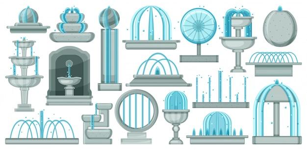 Brunnen cartoon set symbol. illustrationswasserfall auf weißem hintergrund. cartoon set icon brunnen. Premium Vektoren