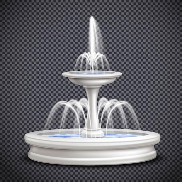 Brunnen realistische lokalisierte transparente zusammensetzung Kostenlosen Vektoren