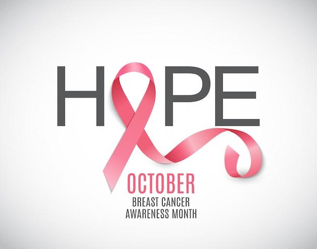 Brustkrebs-bewusstseins-monats-rosa-band Premium Vektoren
