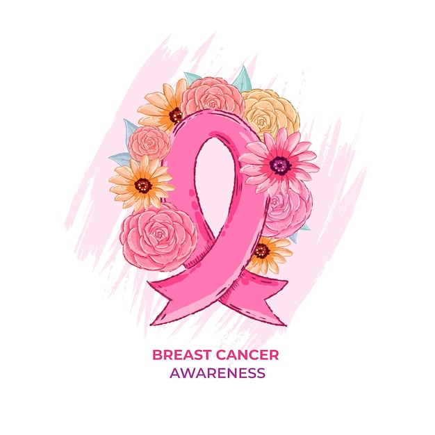 Brustkrebs-bewusstseinsband mit blumen Kostenlosen Vektoren