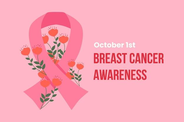 Brustkrebs-bewusstseinsband mit den dargestellten blumen Kostenlosen Vektoren