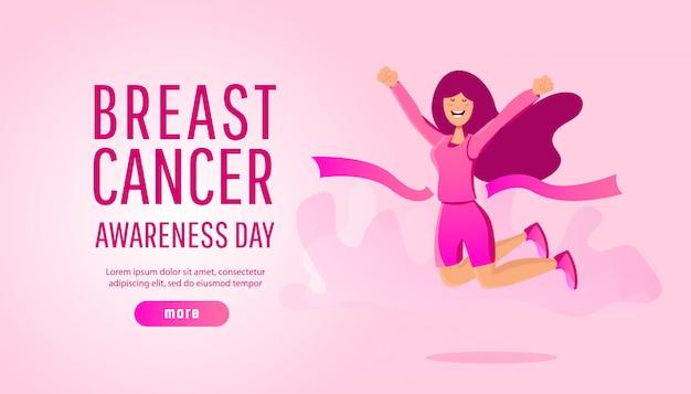 Brustkrebs-bewusstseinskonzept des laufenden sports oder der nächstenliebe laufen mit jungem mädchen Premium Vektoren