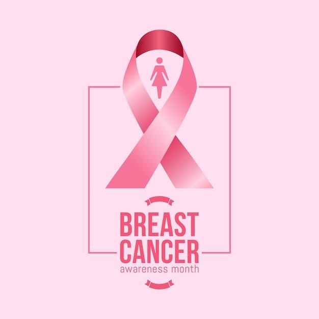 Brustkrebs-bewusstseinsmonat im oktober mit realistischem rosa band Premium Vektoren