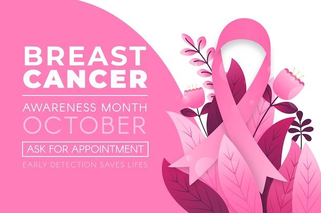 Brustkrebs-bewusstseinsmonatsbanner mit blättern Kostenlosen Vektoren