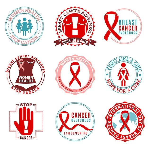 Brustkrebs-embleme eingestellt Kostenlosen Vektoren