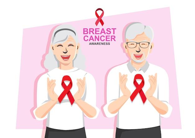 Brustkrebs tag älteres paar paar, das brustkrebsbewusstsein zusammen unterstützt, hände, die rotes band halten Premium Vektoren