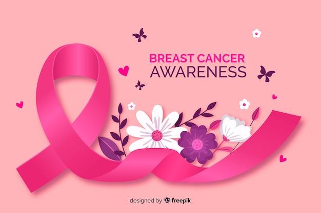Brustkrebsbewusstsein mit realistischem band Kostenlosen Vektoren
