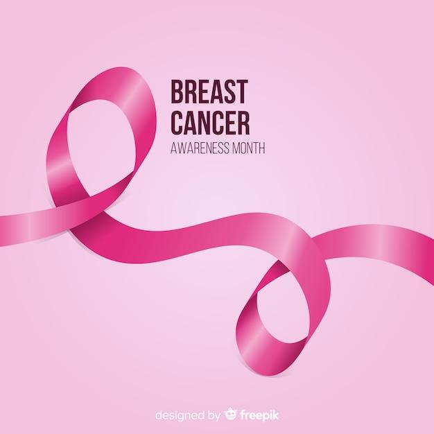 Brustkrebsbewusstsein mit realistischem rosa band Kostenlosen Vektoren
