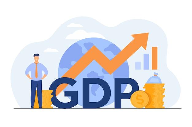 Bruttoinlandsproduktkonzept. wachstumspfeilkarte mit globus, geldstapeln, glücklicher kleiner profi. Kostenlosen Vektoren