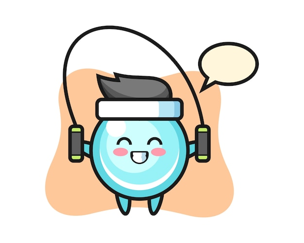 Bubble charakter cartoon mit springseil, niedlichen stil design Premium Vektoren